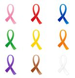 Ribbons. Awareness ribbons of different colors Royalty Free Stock Photo