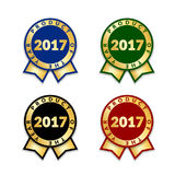 Award ribbon the best. Ribbons award best product of year 2017 set. Gold ribbon award icon  white background. Best product golden label for prize, badge, medal Stock Photos