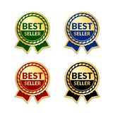 Ribbons award best seller set. Gold ribbon award icon isolated white background. Bestseller golden tag sale label, badge. Medal, guarantee quality product Royalty Free Stock Image