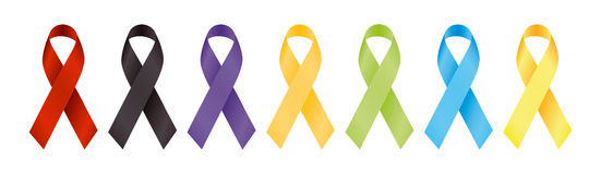 Ribbons for awareness. This ribbons are symbolize some cause behind every color eg. HIV AIDS etc Stock Photography