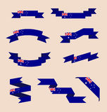 Ribbons or banners in colors of Australian flag. Vector set of scrolled isolated ribbons or banners in colors and with symbols of Australian flag Vector Illustration