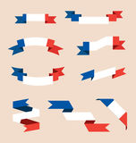 Ribbons or banners in colors of French flag Stock Photo