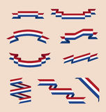 Ribbons or banners in colors of Netherlands flag Royalty Free Stock Photo