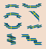 Ribbons or banners in colors of Swedish flag Royalty Free Stock Photos