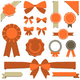Ribbons, banners and seals. Set of retro holiday design elements.  Each element is grouped and colors are global for easy editing Royalty Free Stock Photography