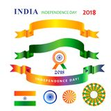 Ribbons banners set Independence Day 15th of August India. Ribbons banners and logo, icons set for Happy Independence Day 15th of August, India Holiday Royalty Free Stock Image