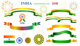 Ribbons banners set Independence Day 15th of August India. Ribbons banners and logo, icons isolated set for Happy Independence Day 15th of August, India Holiday royalty free illustration