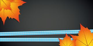 Ribbons in bavarian colors with autumn leaves on dark background. Vector illustration EPS10 royalty free illustration