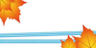 ribbons in bavarian colors with autumn leaves on white backgroun stock illustration