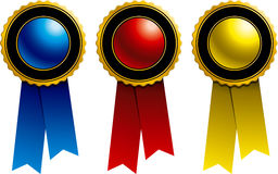 Ribbons: Blue, Red and Yellow. Ribbons and Awards: Blue, Red and Yellow Stock Images