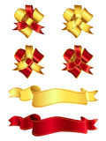 Ribbons and bows 1-1. This is a set of red-gold ribbons and bows Stock Images