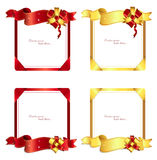 Ribbons and bows 1-2. Set of gold and red cards,ribbons and bows Stock Photos