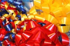 Ribbons and bows. Macro photo of colorful bows and ribbons Royalty Free Stock Photo