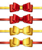 Ribbons and bows 2-2. Set of gold and red cards,ribbons and bows Royalty Free Stock Photography