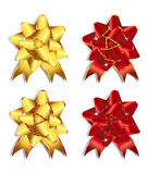 Ribbons and bows 2-3. Set of gold and red cards,ribbons and bows Stock Image