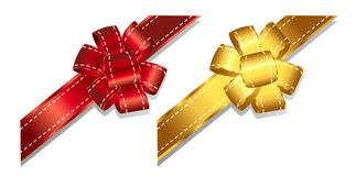 Ribbons and bows 2-4. Set of gold and red cards,ribbons and bows Royalty Free Stock Photo