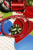 Ribbons, bows and cards. Colorful ribbons, bows and cards Royalty Free Stock Images