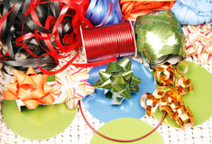Ribbons, bows and cards Stock Images