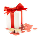 Ribbons, bows, gift box, candle, heart Royalty Free Stock Images