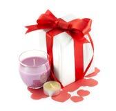 Ribbons, bows, gift box, candle, heart Royalty Free Stock Image
