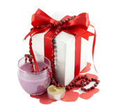 Ribbons, bows, gift box, candle, heart Royalty Free Stock Photography
