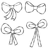 Ribbons Bows Line Art. An illustration featuring your choice of ribbons and bows. Line art (black and white illustrations) are perfect for projects where color Stock Photo