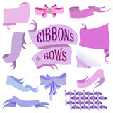 Ribbons and Bows Set, Hand Drawn Vector Illustration Stock Photos