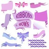 Ribbons and Bows Set, Hand Drawn Vector Illustration Stock Photos