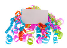 Ribbons with a card Stock Photography
