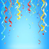 Ribbons and confetti colorful background Stock Photography