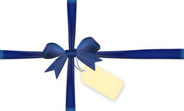 Ribbons crossed with blue bow isolated Stock Image