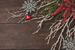 Ribbons and crystal on a rustic wood background Stock Image