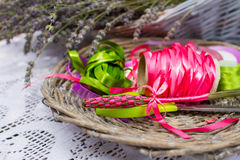 Colorful ribbons and lavender flowers for decoration Royalty Free Stock Photography