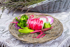 Colorful ribbons and lavender flowers for decoration Royalty Free Stock Photo