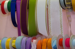 Ribbons for decoration on display Royalty Free Stock Images