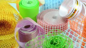 Ribbons for decoration, gift wrapping, flower stock video footage