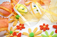 Ribbons and felt flowers Royalty Free Stock Photography