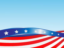 Ribbons flag USA. On a blue background Royalty Free Stock Images
