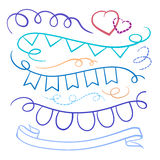 Ribbons and flags doodles set. Vector color set of celebrate ribbons and flags doodles on a white background Stock Image