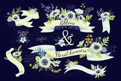 Ribbons and floral banners. Collection decorative ornaments of flowers. Vintage card with a bouquet of flowers on a dark blue background. Anemone, plants and Stock Images