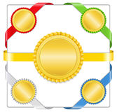 Ribbons with golden medals Stock Image