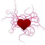 Ribbons and heart. Illustration of heart with curling ribbons Stock Image