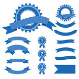 Ribbons and labels. Blue web stickers, tags, banners and labels  on white background Royalty Free Stock Images