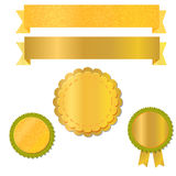 Ribbons and labels for design with textured gold foil, vector Stock Photos
