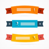 Ribbons, Labels Set in Retro Colors Royalty Free Stock Photography