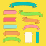 Ribbons and labels  on a yellow background. Vector ribbons and labels on a yellow background Stock Images