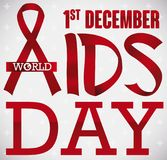 Ribbons like Letters Forming a Sign for World AIDS Day, Vector Illustration. Poster with red ribbons forming a greeting message for World AIDS Day in December 1 Stock Photo