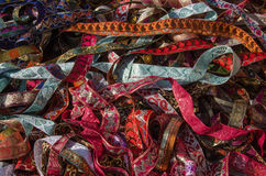 Ribbons on market stall Royalty Free Stock Photography