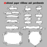 Ribbons and parchments in medieval engraving style. Royalty Free Stock Images