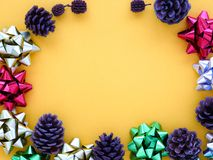 Ribbons and pine cones Royalty Free Stock Photography